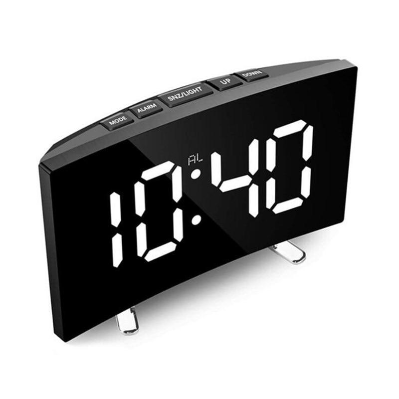 Reloj Despertador Digital Reloj con espejo y luz LED multifunción posponer y visualización de hora, luz LCD nocturna, mesa de escritorio, Cable USB