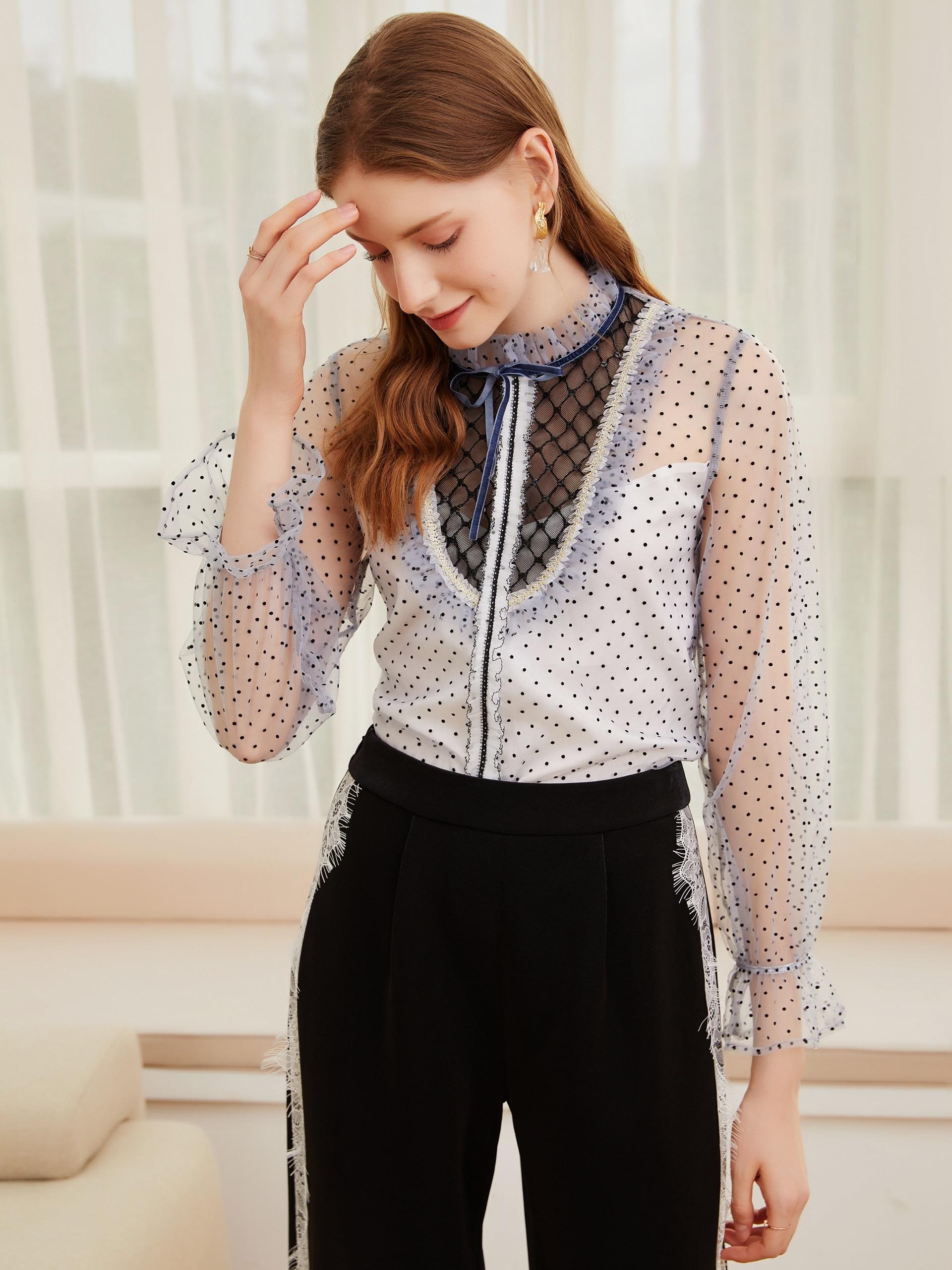 2021 spring and autumn new chiffon shirt retro temperament women's shirt long sleeve ear edge small