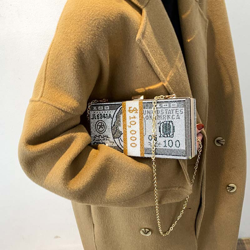 محفظة بلينغ موني من حجر الراين بمحفظة 10000 دولار مكدس من النقود المسائية حقيبة كتف وعشاء للزفاف 8 ألوان صيف 2021
