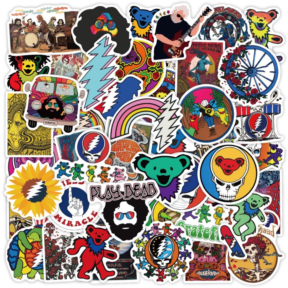 50 pcs Grateful Dead Rock Band Stickers Vinyl Waterproof Stickers for Kids Teens Adults Luggage Laptop Bike Skateboard Supplies