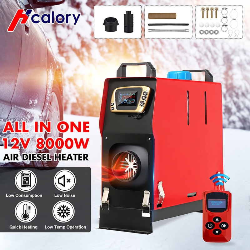 HCalory All in One 1-8KW 12V Car Heater Tool Diesels Air Heater New LCD Monitor Parking Warmer For Car Truck Bus Boat 12v 24v lcd monitor switch remote controller accessories for car track diesels air heater parking heater car accessories