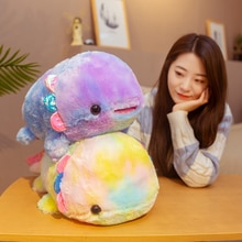 40/55cm Rainbow Dinosaur Fish Plush Toys Colorful Giant Salamander Stuffed Doll Soft Animal Nap Sleep Pillow Cute Gift for Kids