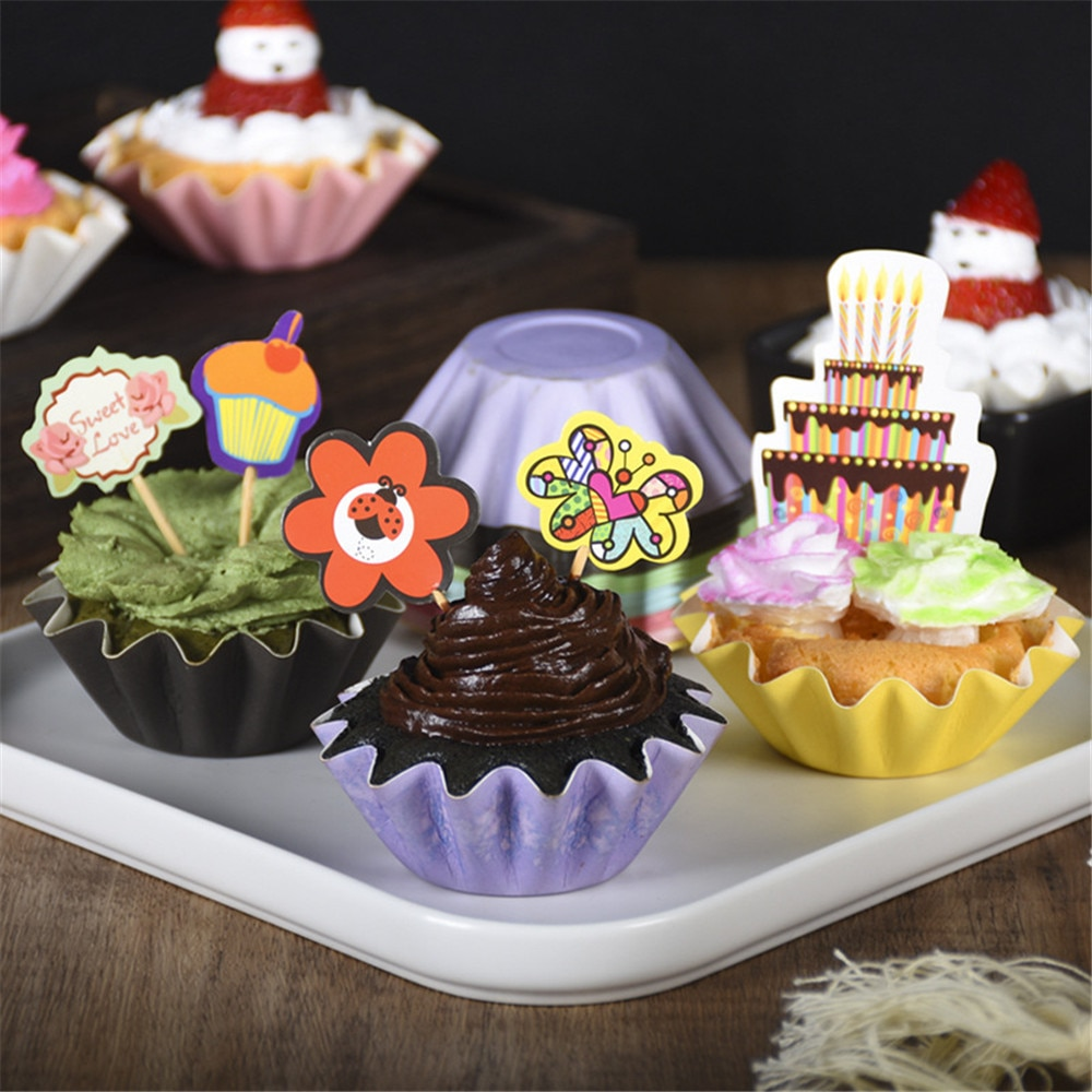 Papel de aluminio dorado para cupcakes, revestimientos de oro/plata/rojo/azul/negro, tulipán, Color puro, Magdalena de repostería, copa para Tartas, envoltorios, estuche protector