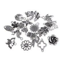 100 pièces 42/12mm alliage Jungle Style pendentif à breloque collier boucle doreille bijoux à bricoler soi-même