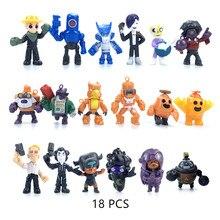 18 unids/set Brawl estrellas juego dibujos animados héroe Anime figura modelo Spike Shelly Leon Primo Mortis muñecas niño niña juguetes niño cumpleaños regalo