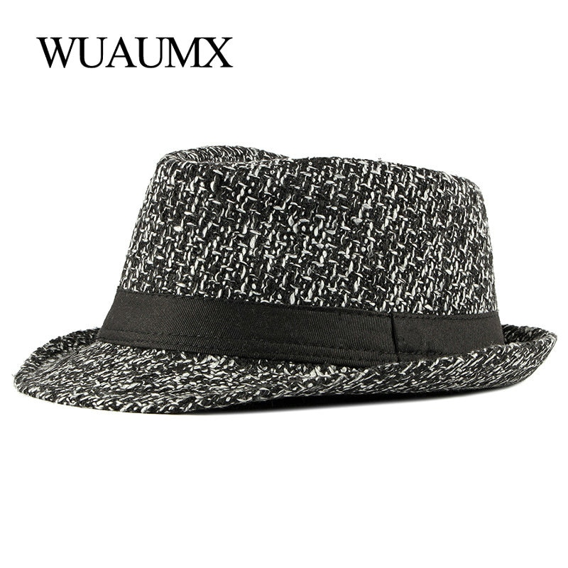 Wuaumx Brand NEW Autumn Winter Fedoras Hat For Male knitted Top Jazz Hats Men Women Retro Panama Hat Classic Bowler Caps Cotton