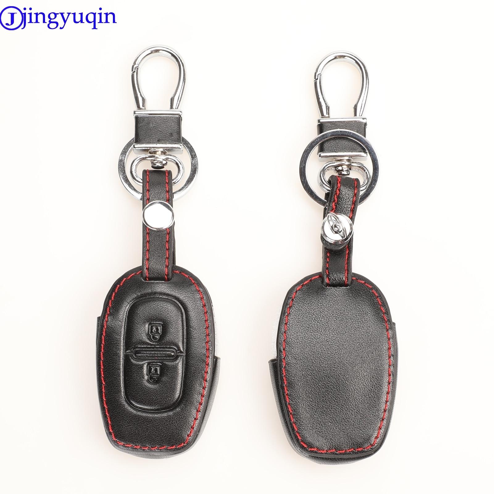 Funda para llave de coche de cuero con control remoto de 2 botones jingyuqin para Renault kwid Symbol Trafic Dacia Sandero Logan Duster 2016-2018