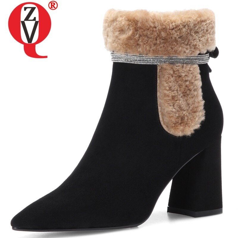 ZVQ invierno nueva moda tobillo botas fuera de super alta talones señaló toe chico de oficina zapatos de mujer envío gratuito tamaño 34-39