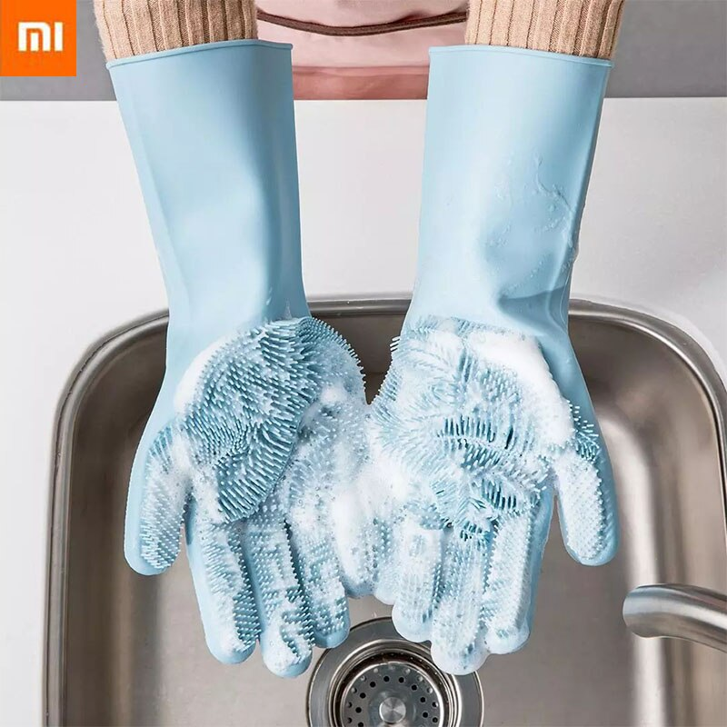 Xiaomi mi magia silicone dishwashing purificador prato luva de lavagem para esponja luvas de borracha do agregado familiar purificador de borracha cozinha ferramenta