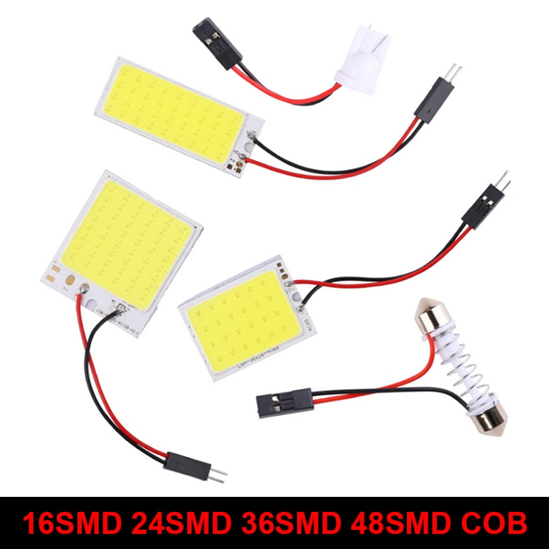 Alta qualidade interior do carro dome luzes de leitura t10 w5w festão ba9s adaptador led cob branco painel lâmpada mapa automático tronco luz 12v