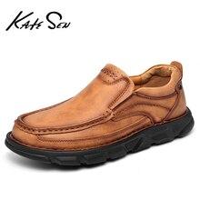KATESEN 2021 nouveaux hommes en cuir véritable chaussures Slip-on robe de soirée de mariage chaussures mode décontracté travail Oxford chaussures grande taille 48 chaude