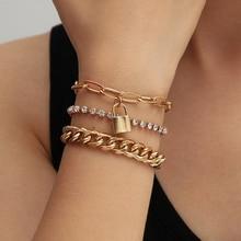 3 pièces Punk gourmette cubaine serrure chaîne Bracelets ensemble pour les femmes Miami Boho épais or breloque cristal Bracelets Bracelets bijoux de mode