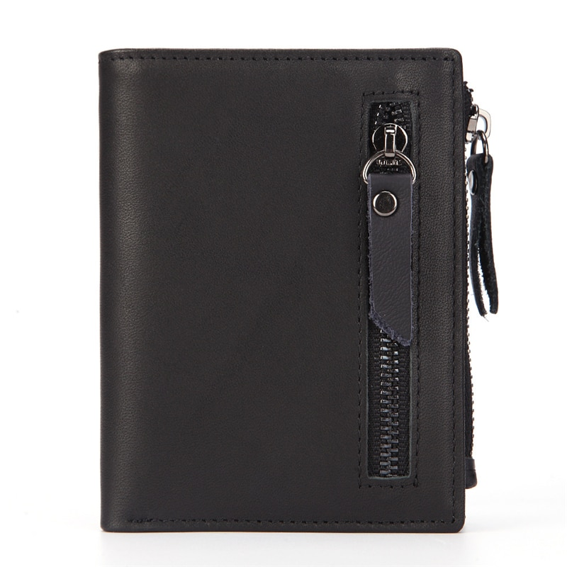 100%Genuine leather Men Wallet Business Card Holder Luxury  Rfid 10 Cards Purse Organizer Case Zipper Male