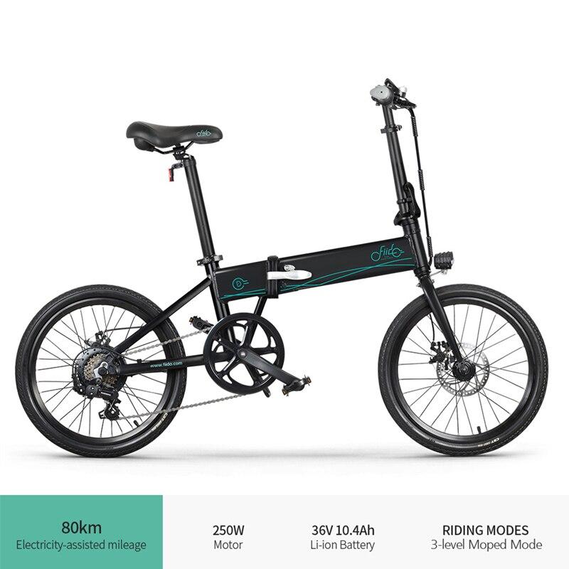 FIIDO-Bicicleta eléctrica plegable D4S para adultos, ciclomotor de 20 pulgadas, 36V, 10,4...
