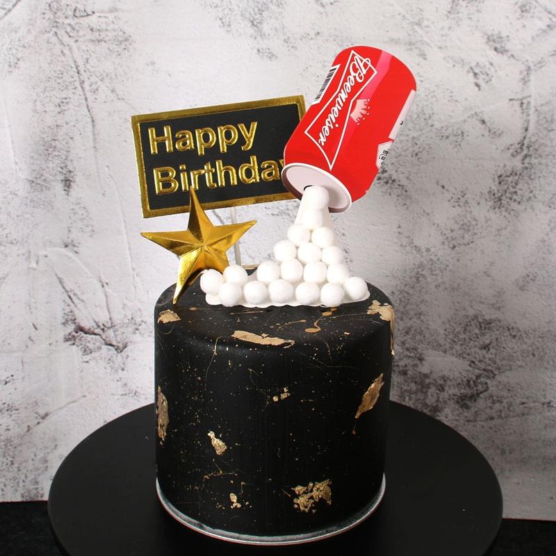 1 Набор пиво и веселье Кола торт Топпер 3D печать пивная бутылка бумажный Топпер на торт для мальчиков мужской день рождения торт Декор вечерние вставка для торта флаги