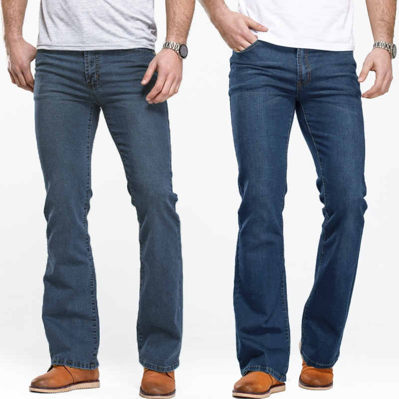 Mens Boot Cut Jeans Slightly Flared Slim Fit Blue Black Trousers Designer Classic Male Stretch Denim Pants