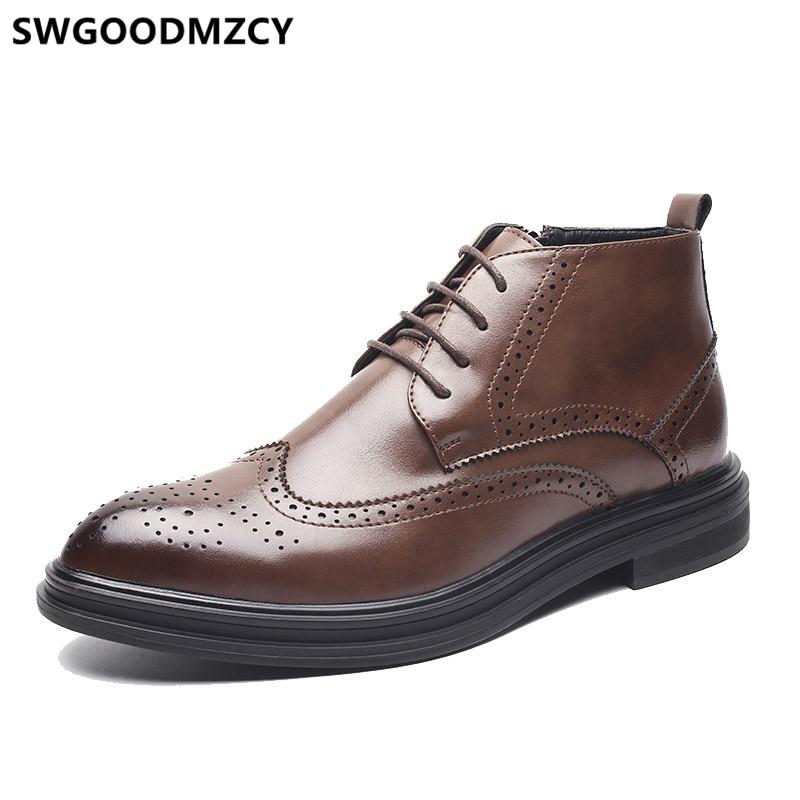Botas de Inverno dos Homens Botas de Couro Botas de Couro dos Homens Botas de Vestido Homens Coiffeur Brogue Sapatos Masculinos Clássico Vestido Formal Erkek Ayakkabi dos