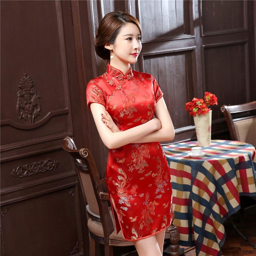 Chinese Summer Cheongsam Women Silk Satin Dress Mini Qipao Plus Size S M L XL 2XL 3XL 4XL 5XL 6XL