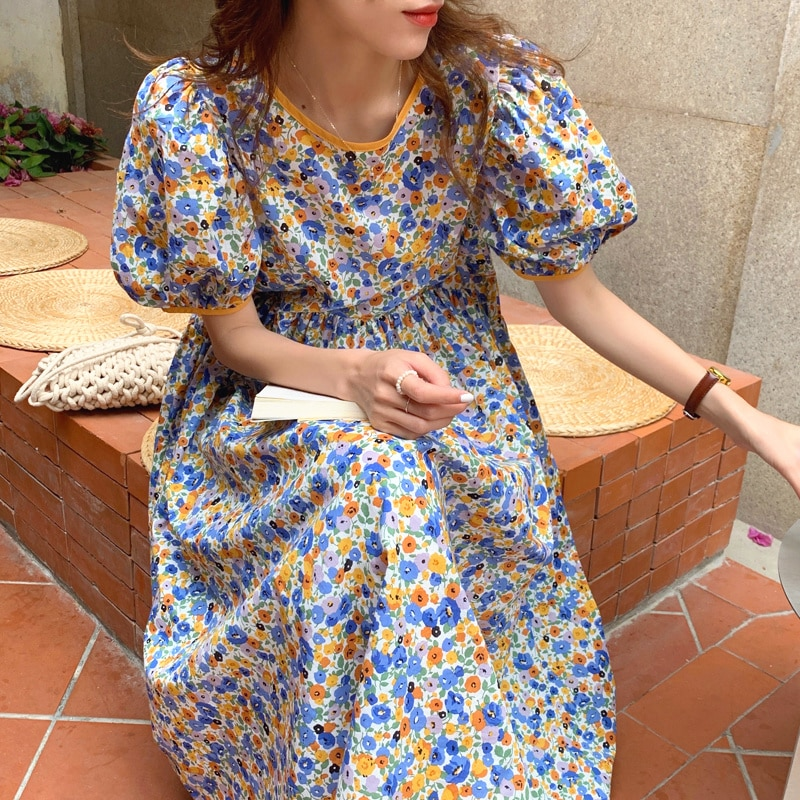 Korean Chic Dress Sweet Dresses Reduction Round Neck Care Back Hollow Lace Loose Floral Bubble Sleev
