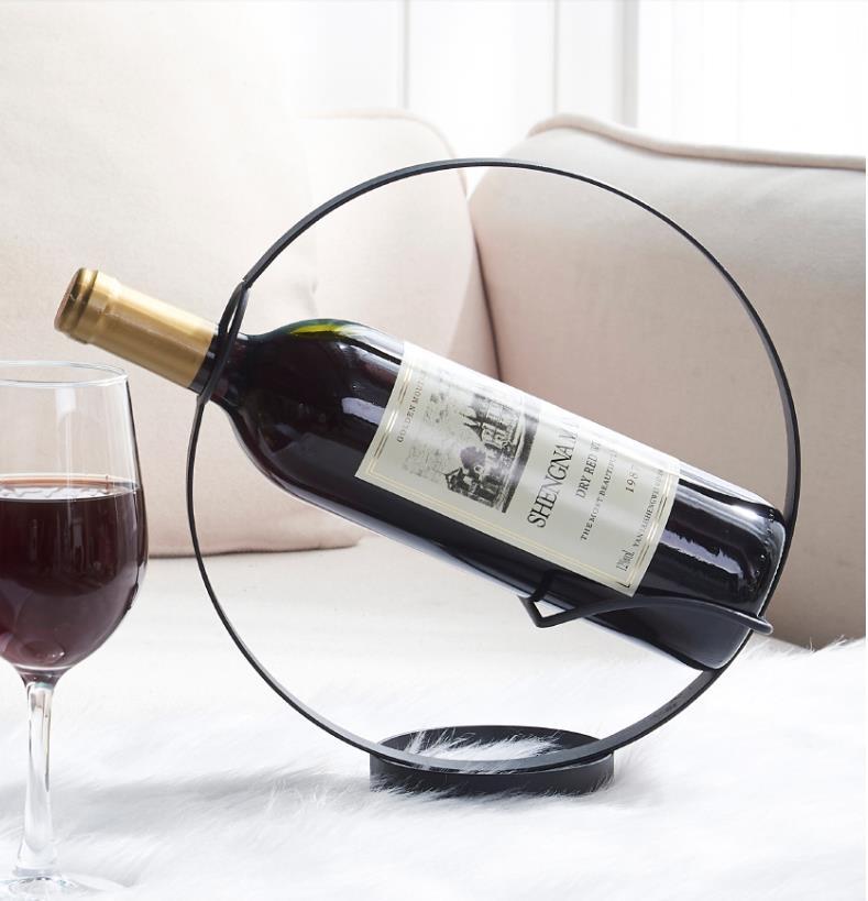 رف زجاجة نبيذ دائري ، ديكور منزلي ، خفيف ، حديث ، فاخر ، إبداعي ، بسيط