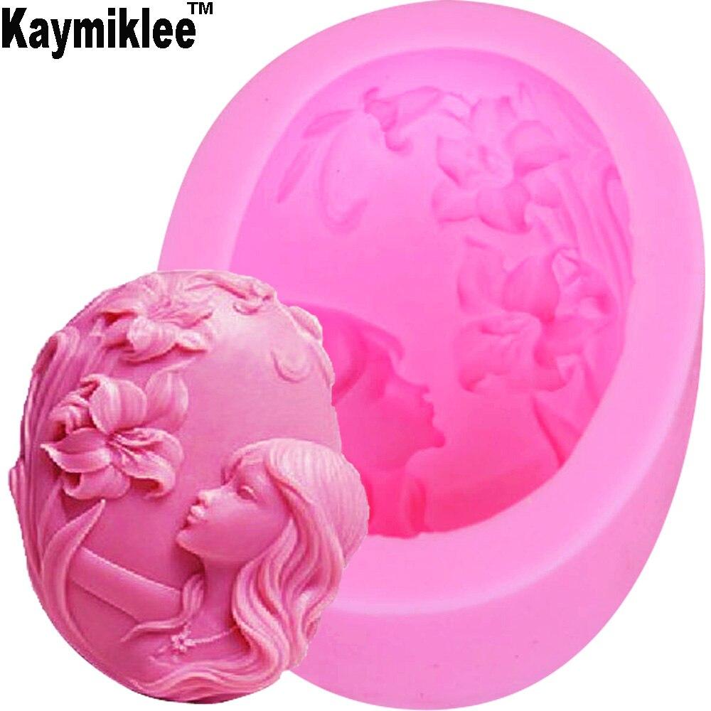 Kaymiklee S033 1 piezas de molde de silicona de jabón hecho a mano de flor de niña, molde de sílice, moldes de vela de silicona, regalo favor DE 10*7,4*3,5 cm