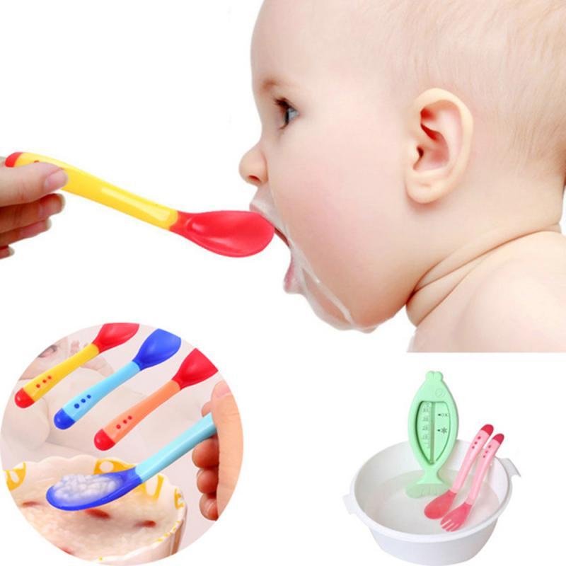 Ложка с датчиком температуры, детская силиконовая ложка для кормления детей, Термочувствительная посуда, ложки для кормления детей, 1/3 шт.