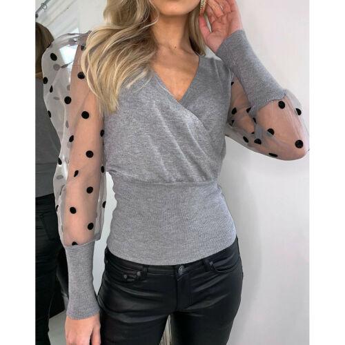 Fashion Women Sheer Mesh Puff Sleve Blouses Shirts 2020 Women Elegant Slim Polka Dots Patchwork Knitted Wrap V-neck Tops Shirts