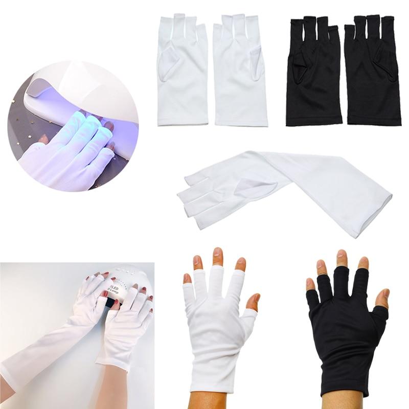Luvas antiuv com proteção por radiação, luvas de led para proteção uv para unhas, arte de unha em gel, secador de unhas leve, 1 par equipamento artístico
