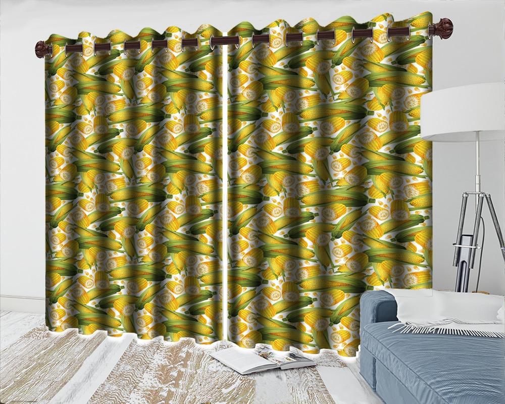 Cortina de Cozinha Elegante Quarto Cortinas Padrão Golden Corn Impressão Blackout Janela Cortina 3d