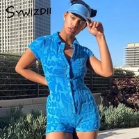 sywizdii single breasted bodysuit top sexy casual beltless playsuit summer short sleeve bodycon romper tights streetwear