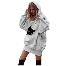 Streetwear oversize long sweatshirt dress womens 하라주쿠 카와이 고양이 프린트 후드 맨틀 긴 소매 겨울 따뜻한 후드 풀오버