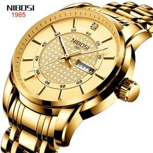 NIBOSI Mens Watches Top Luxury Brand Sport Quartz Watch Men  Luminous Waterproof Gold Wrist Watch Man Stainless Steel Date Clock