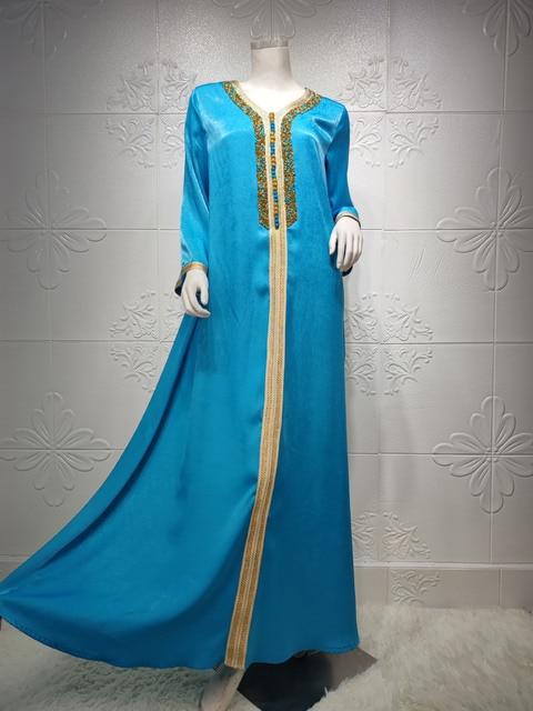 Ramadan Eid Blue Maxi Dress For Women Modest Muslim Turkey Arabic Dubai Diamond Ribbon V Neck Long Sleeve Jalabiya 2021 10