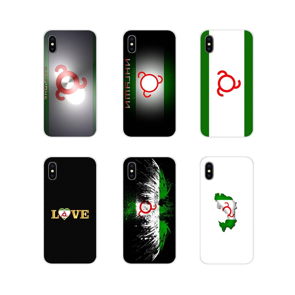 Cubierta de la caja para Apple iPhone X XR XS MAX 4 4S 5 5S 5C SE 6 6S 7 8 más ipod touch 5 6 Ingushetia Bandera Nacional paisaje mapa Logo