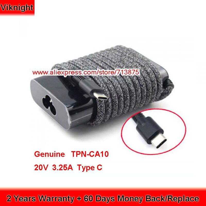 حقيقية 65W 20V 3.25A نوع C TPN-LA12 TPN-CA10 PA-1650-38HT AC محول ل HP شبح X360 13-AW0008CA بي ELITEBOOK 1040 G4 سلسلة
