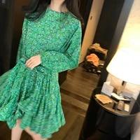 elegant print women dress o neck lantern long sleeve high waist lace up bow ruffles mini dresses for female fashion