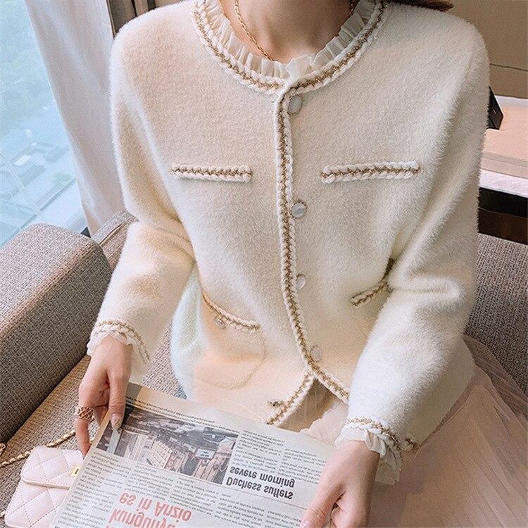 Shuchan Cardigan Women Autumn Winter O-Neck  England Style  Single Breasted  Kimono Cardigan Sweater Vintage Sweater enlarge