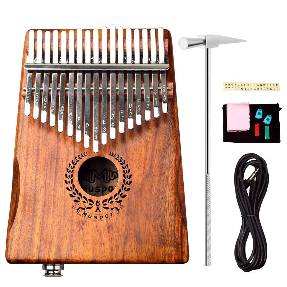 Molioon 17 teclas eq kalimba mbira calimba sólido acácia polegar piano ligação alto-falante elétrica captador com saco + 3 m cabo