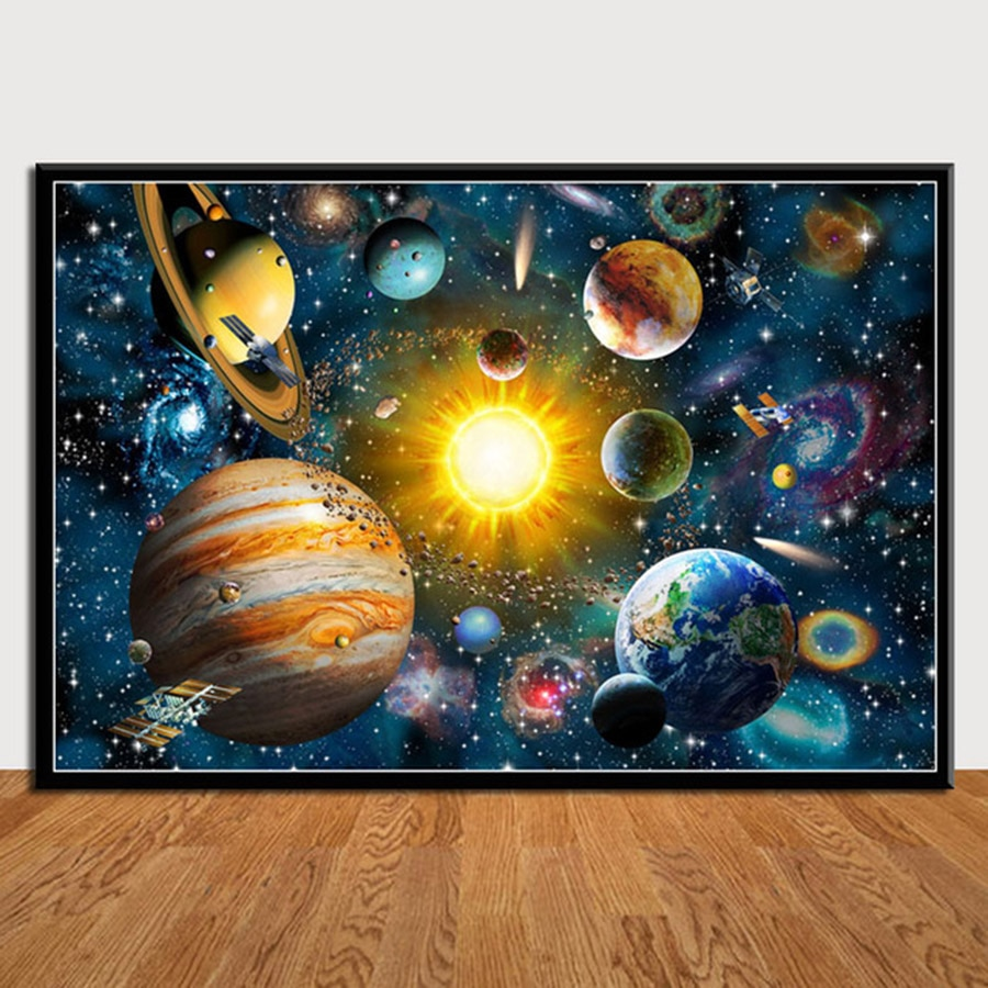 Planets Solar System Galaxy Universe Posters 5D Diy Diamond Painting Full Square Daimond Embroidery Cross Stitch Mosaic Picture