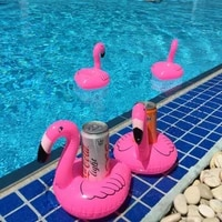 inflatable flamingo unicorn swan pool float toys drink float cup holder swimming ring party toys beach kids adults