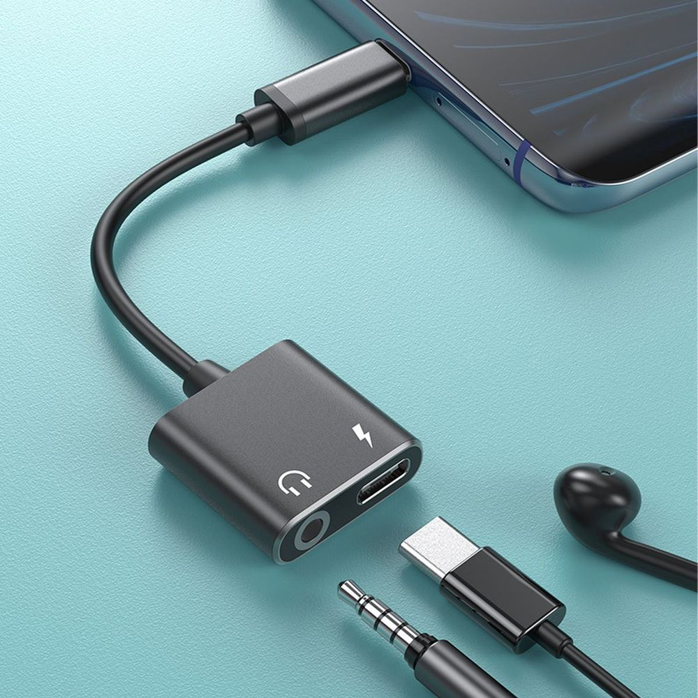 Adaptador de Audio 2 en 1, Cable auxiliar de carga USB C...