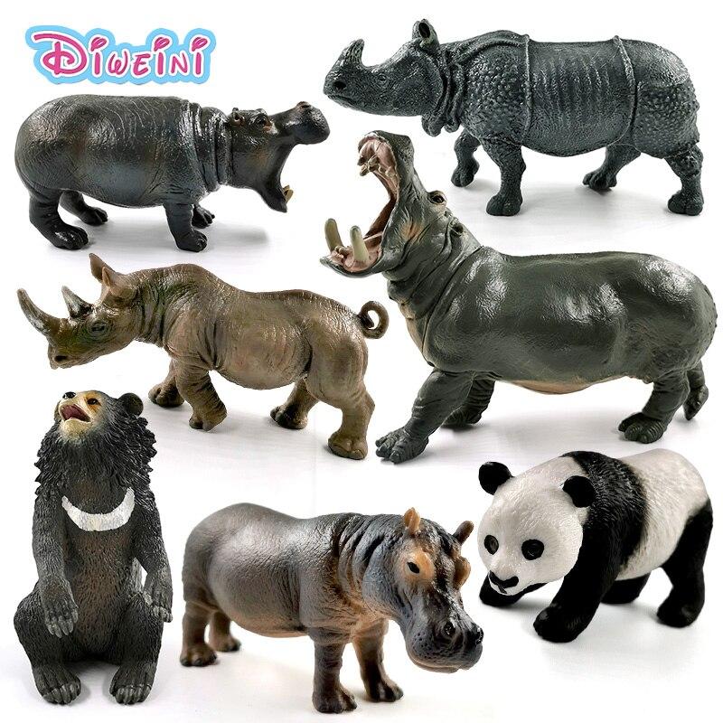New Hippo Rhino Panda Black Bear Simulation animal model action figure home decor Gift For Kids Educational Hot toy for children