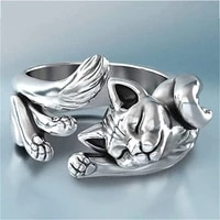antique silver animal matching lucky cat rings jewelry vintage adjustable cat paws tails open rings for women men cat lovers