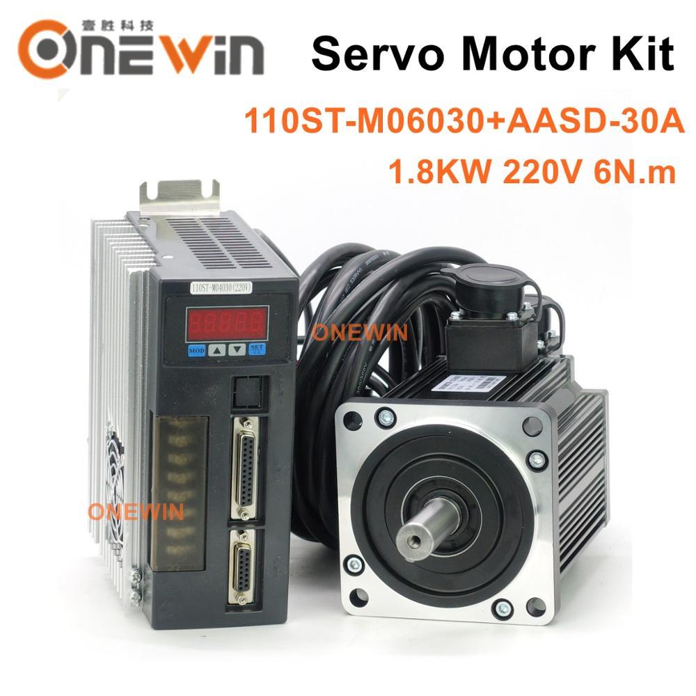 1.8KW AC محرك سيرفو كيت 110ST-M06030 + AASD-30A سائق القطر 110 مللي متر 220V 6NM 3000rpm
