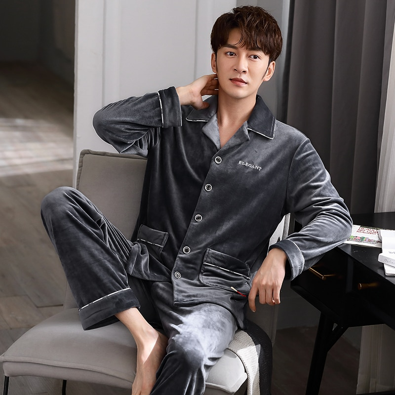 Men's Pajamas Autumn and Winter Island Velvet Thin-Fleece Thermal plus Size Casual Coral Fleece Outerwear Homewear Suit Spring