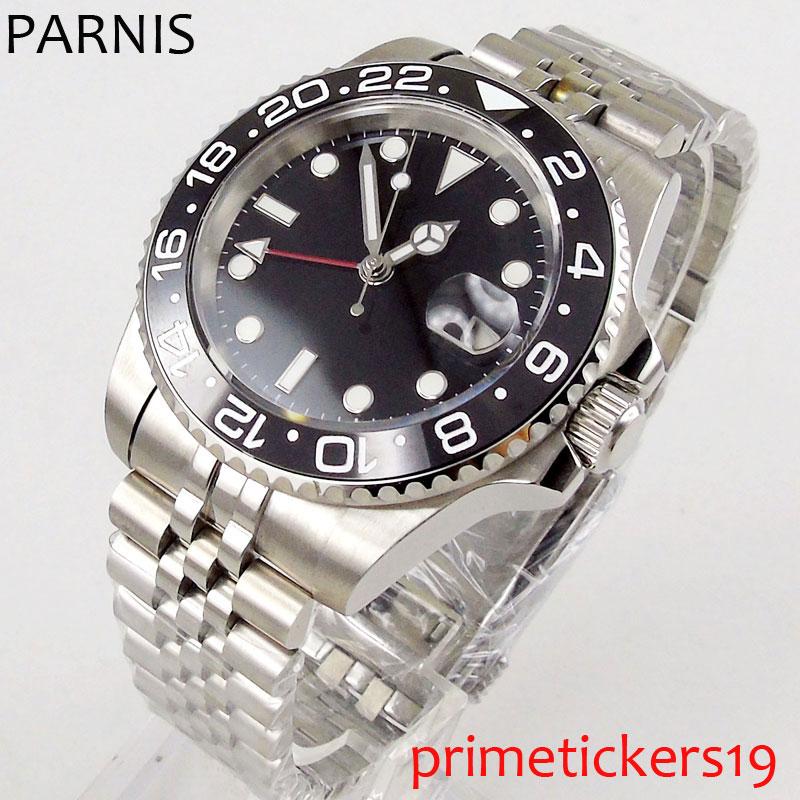 40mm PARNIS estéril negro dial negro cerámica bisel zafiro vidrio luminoso manos GMT automático hombre reloj PA1192