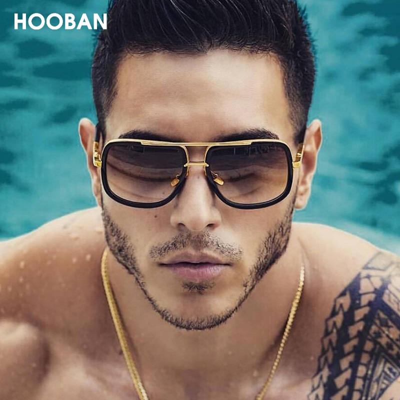 Hooban vintage óculos de sol oversized masculino quadrado óculos de condução para mulher retro luxo unisex sombra uv400