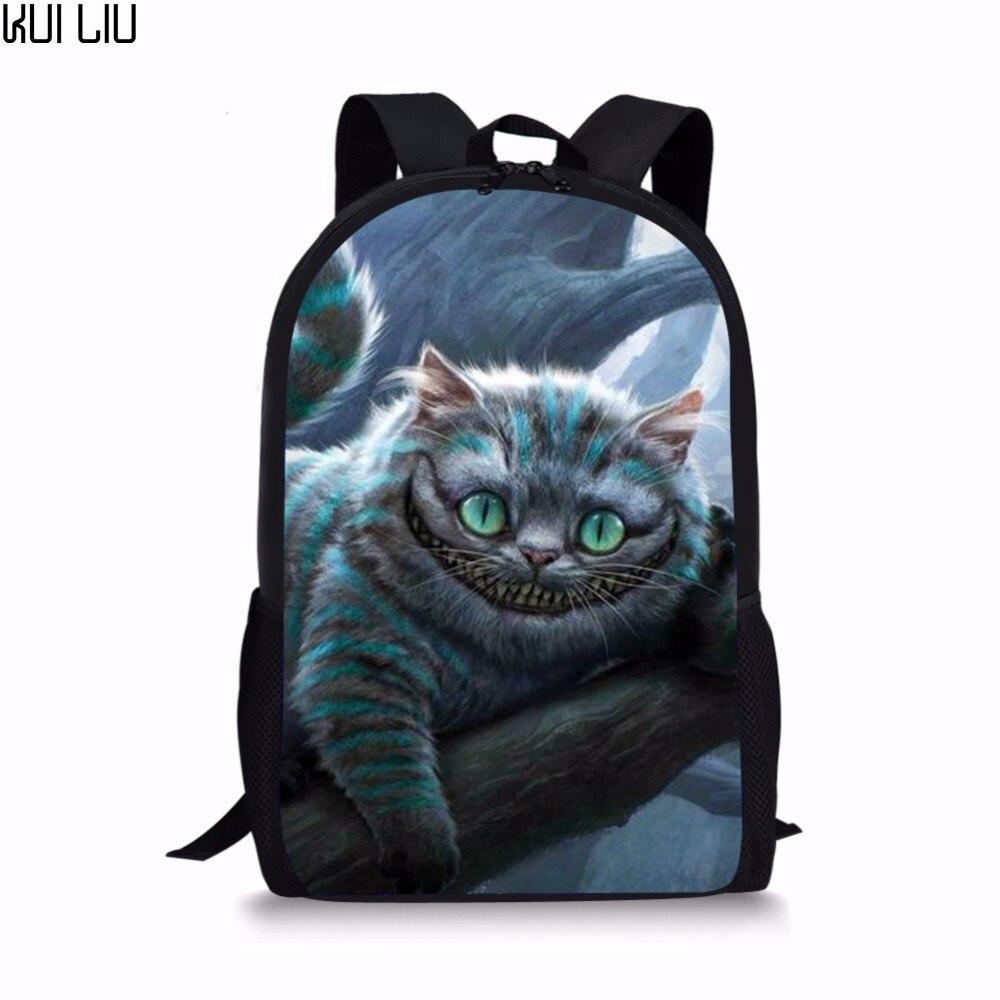 Mochila personalizada de gatos ALICE Toothy, Mochila vívida, Bolsa Escolar para chicas adolescentes, bolsa para gatos de Cheshire con estampado de dibujos animados