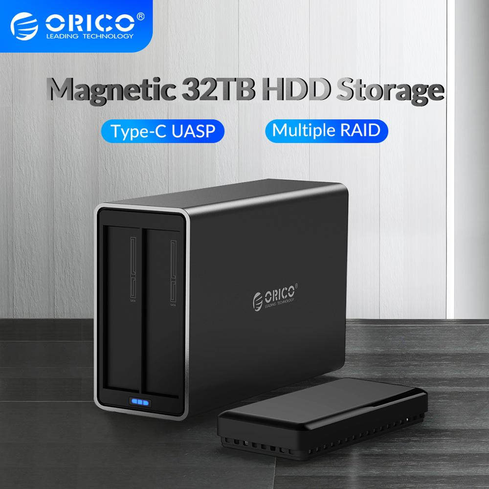 ORICO NS Series 2 Bay 3.5'' Type C with RAID HDD Docking Station Support Max 32TB 48W Power HDD Enclosure Aluminum HDD Case