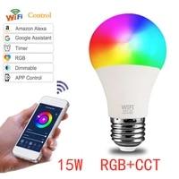 Ampoules WiFi E27  15w  LED  couleur changeante  lampe neon  pour maison connectee  commande vocale  Alexa  Google Assistant